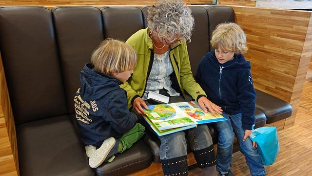 Mummo lukee kirjaa lastenlasten kanssa